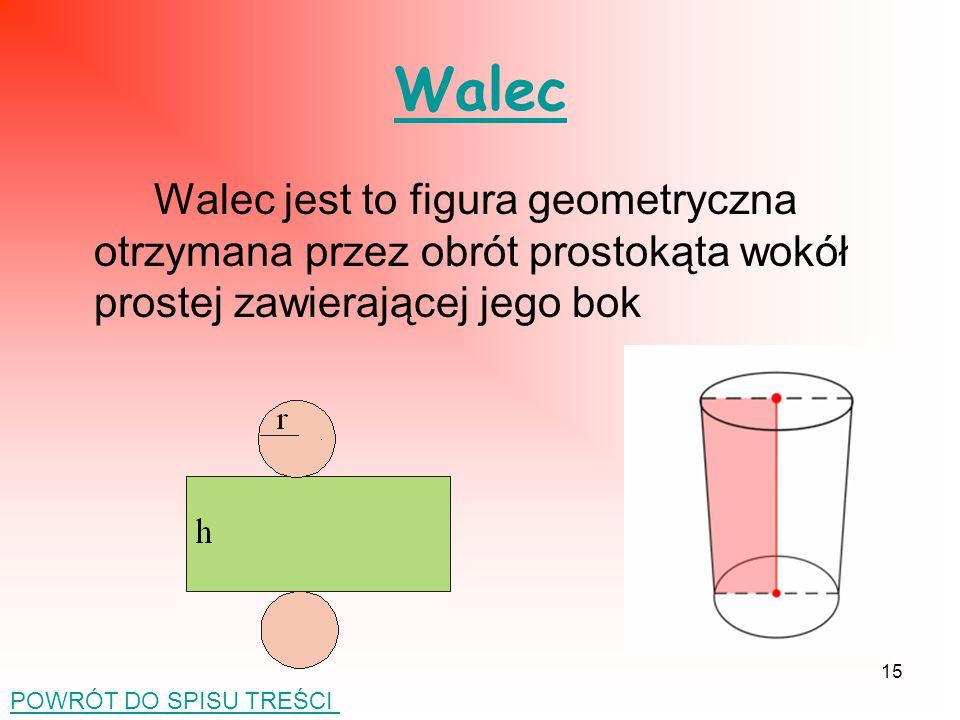 Walec Walec jest to figura geometryczna otrzymana przez obrót prostokąta wokół prostej zawierającej jego bok.