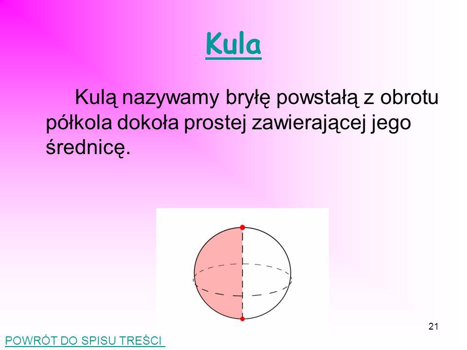 Kula Kulą nazywamy bryłę powstałą z obrotu półkola dokoła prostej zawierającej jego średnicę.