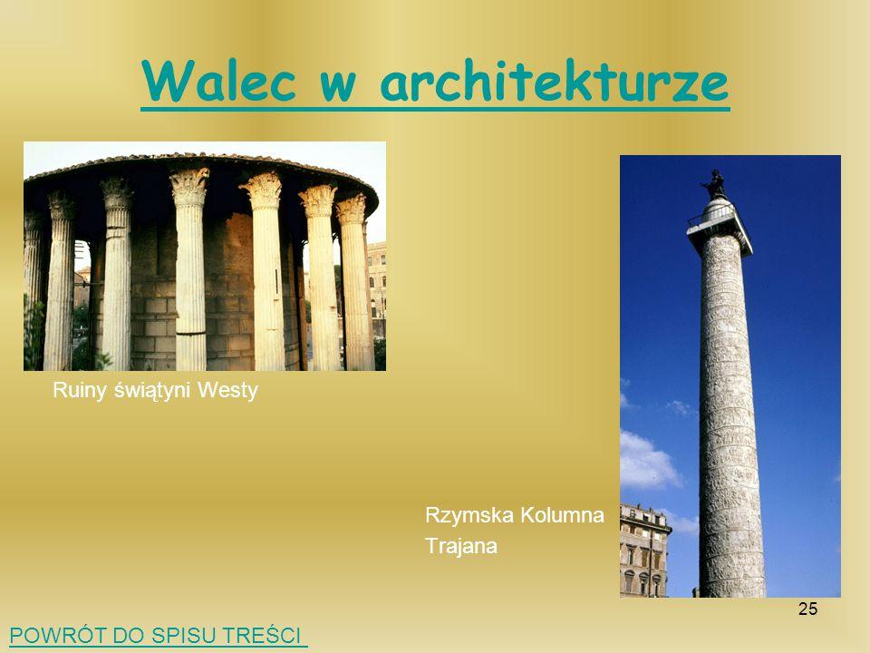 Walec w architekturze Ruiny świątyni Westy Rzymska Kolumna Trajana