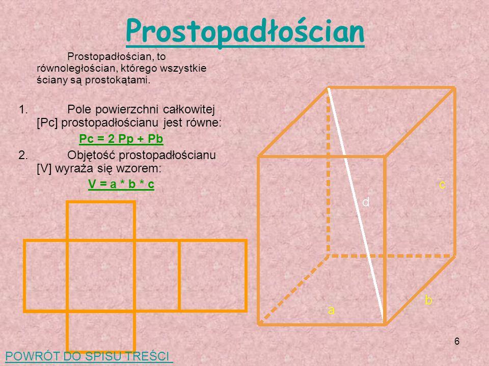 Prostopadłościan Prostopadłościan, to równoległościan, którego wszystkie ściany są prostokątami.