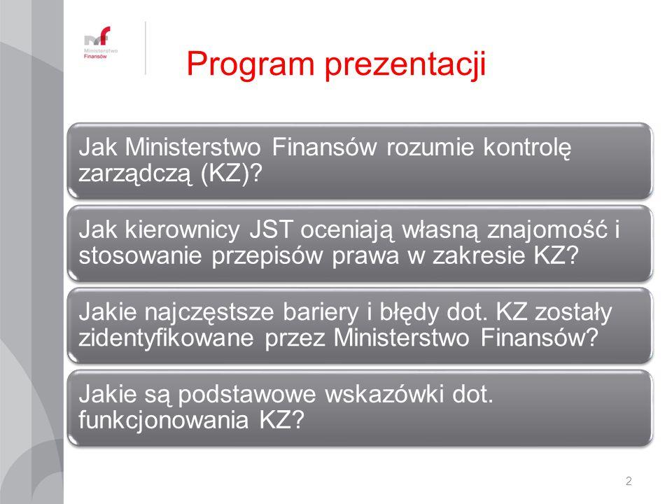 Program prezentacji Jak Ministerstwo Finansów rozumie kontrolę zarządczą (KZ)