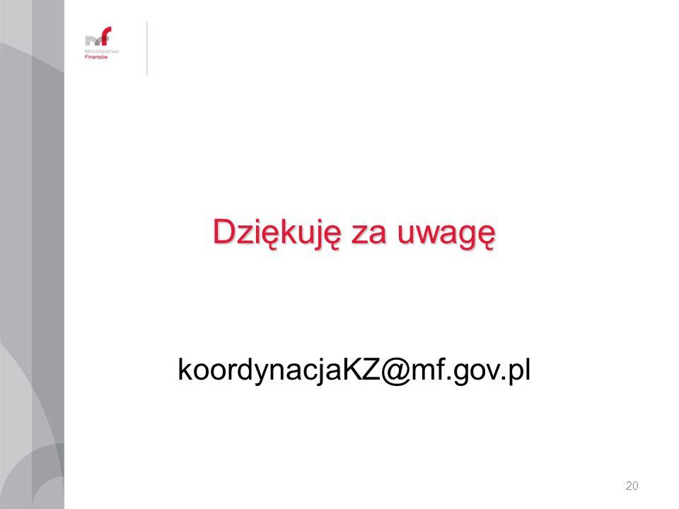 Dziękuję za uwagę koordynacjaKZ@mf.gov.pl