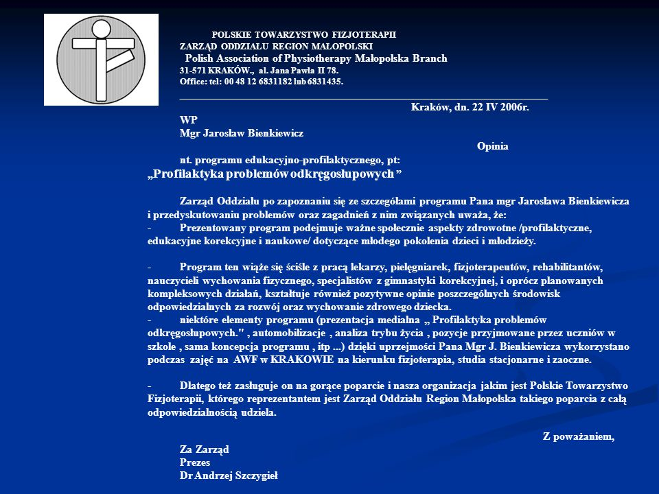 Polish Association of Physiotherapy Małopolska Branch