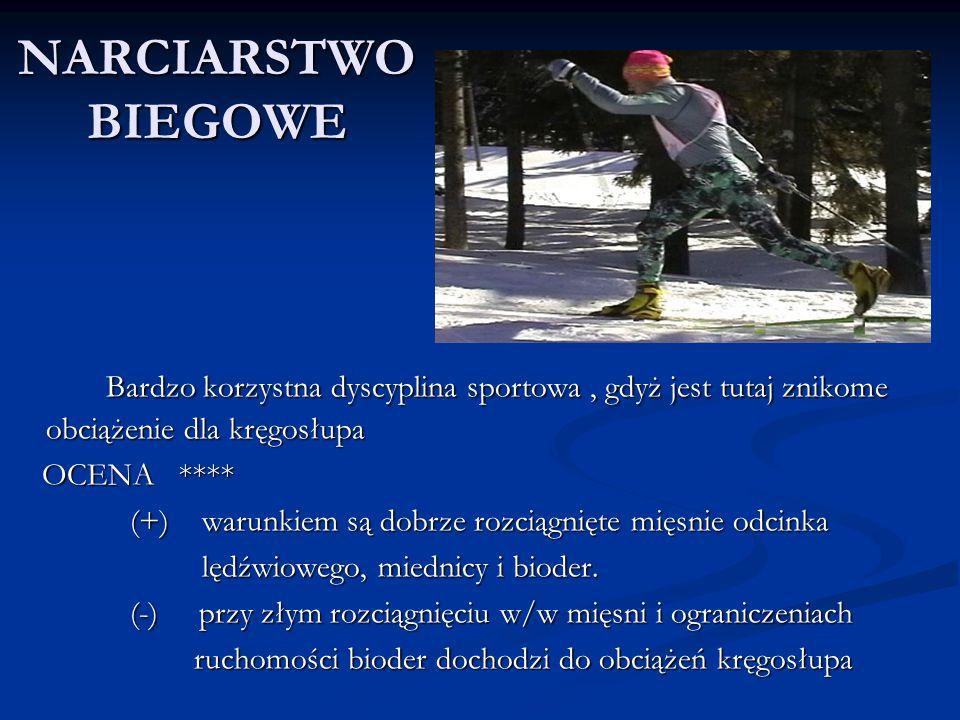 NARCIARSTWO BIEGOWE Bardzo korzystna dyscyplina sportowa , gdyż jest tutaj znikome obciążenie dla kręgosłupa.