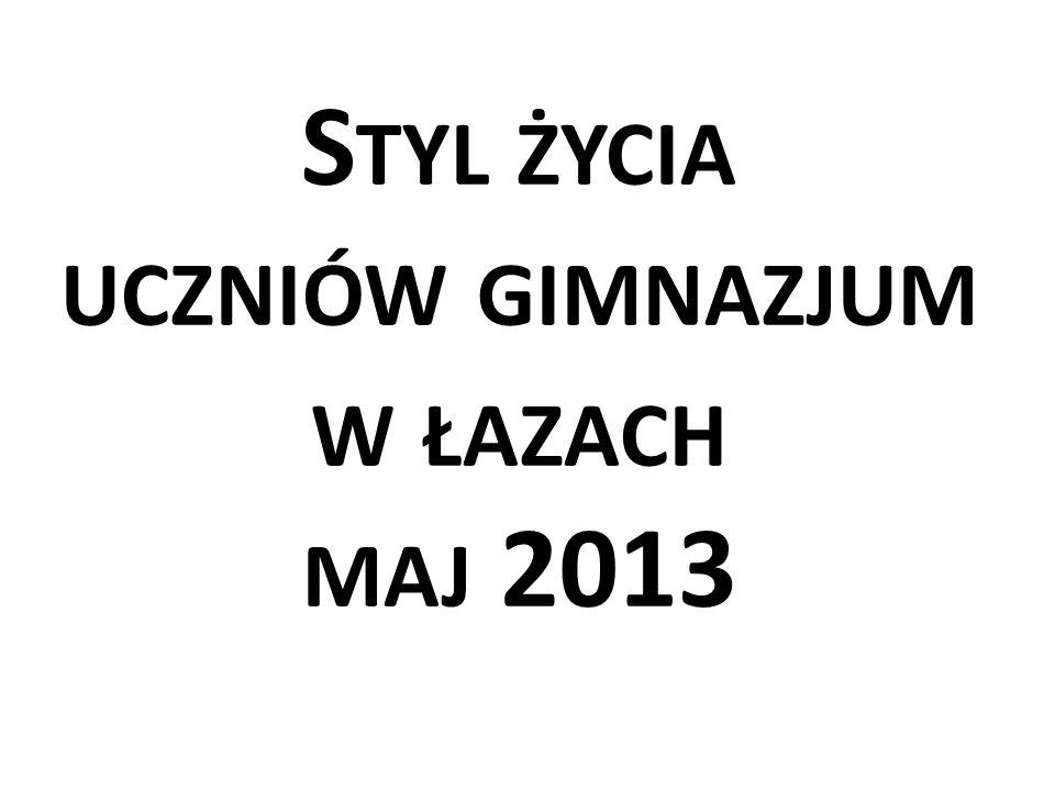 Styl życia uczniów gimnazjum w łazach maj 2013