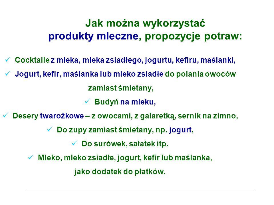 Jak można wykorzystać produkty mleczne, propozycje potraw: