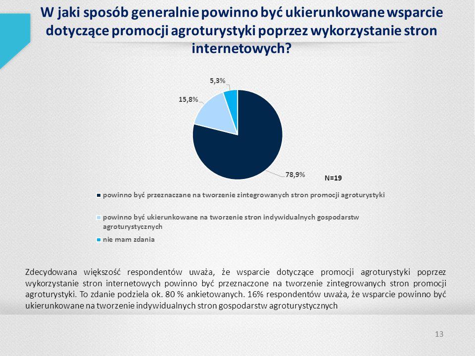 W jaki sposób generalnie powinno być ukierunkowane wsparcie dotyczące promocji agroturystyki poprzez wykorzystanie stron internetowych