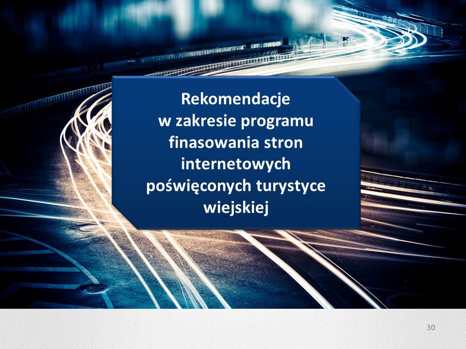 Rekomendacje w zakresie programu finasowania stron internetowych poświęconych turystyce wiejskiej