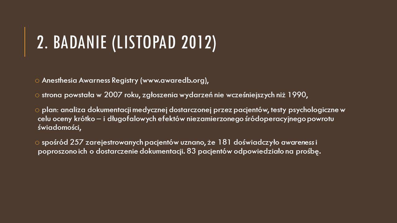 2. badanie (listopad 2012) Anesthesia Awarness Registry (www.awaredb.org),