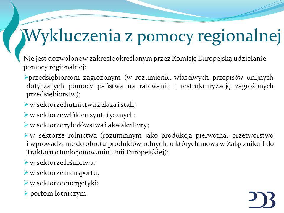 Wykluczenia z pomocy regionalnej
