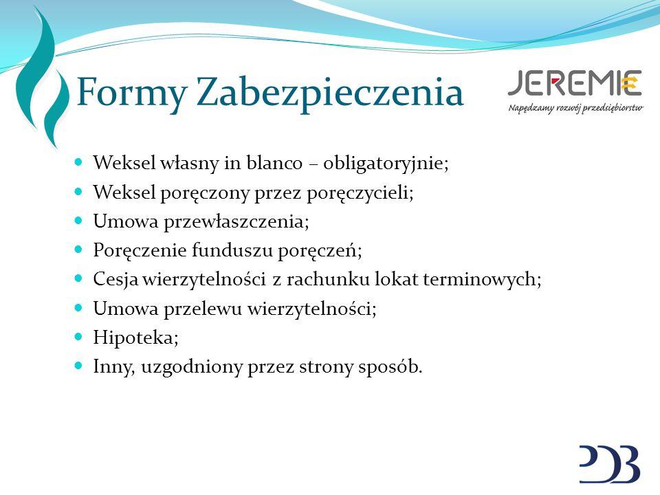 Formy Zabezpieczenia Weksel własny in blanco – obligatoryjnie;
