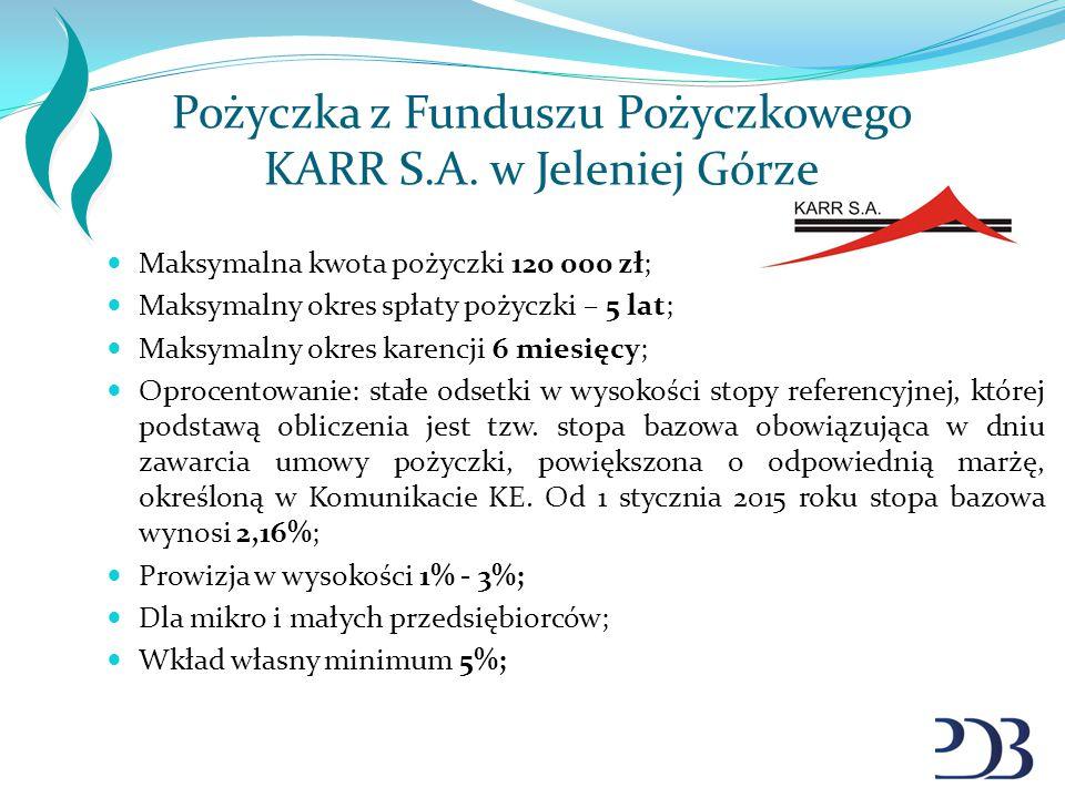 Pożyczka z Funduszu Pożyczkowego KARR S.A. w Jeleniej Górze