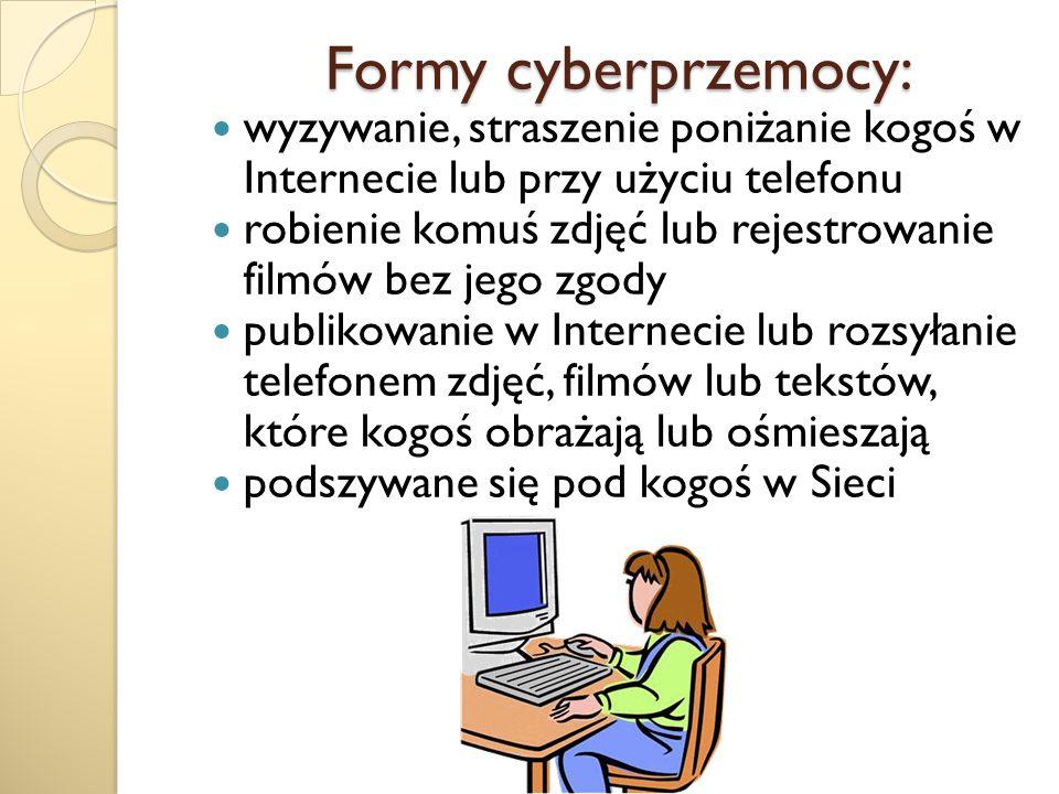Formy cyberprzemocy: wyzywanie, straszenie poniżanie kogoś w Internecie lub przy użyciu telefonu.