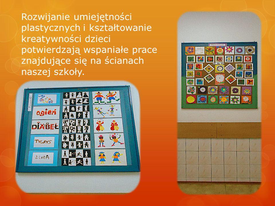 Rozwijanie umiejętności plastycznych i kształtowanie kreatywności dzieci potwierdzają wspaniałe prace znajdujące się na ścianach naszej szkoły.