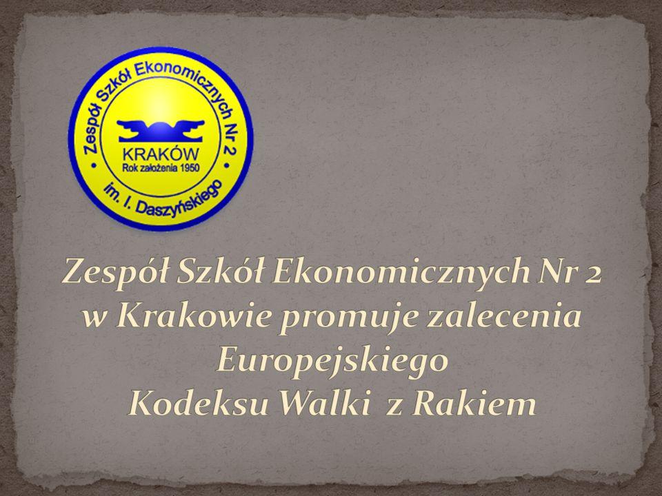 Zespół Szkół Ekonomicznych Nr 2 w Krakowie promuje zalecenia Europejskiego Kodeksu Walki z Rakiem