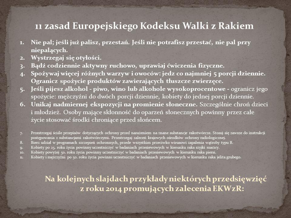 11 zasad Europejskiego Kodeksu Walki z Rakiem