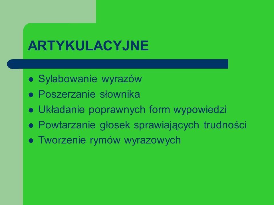 ARTYKULACYJNE Sylabowanie wyrazów Poszerzanie słownika