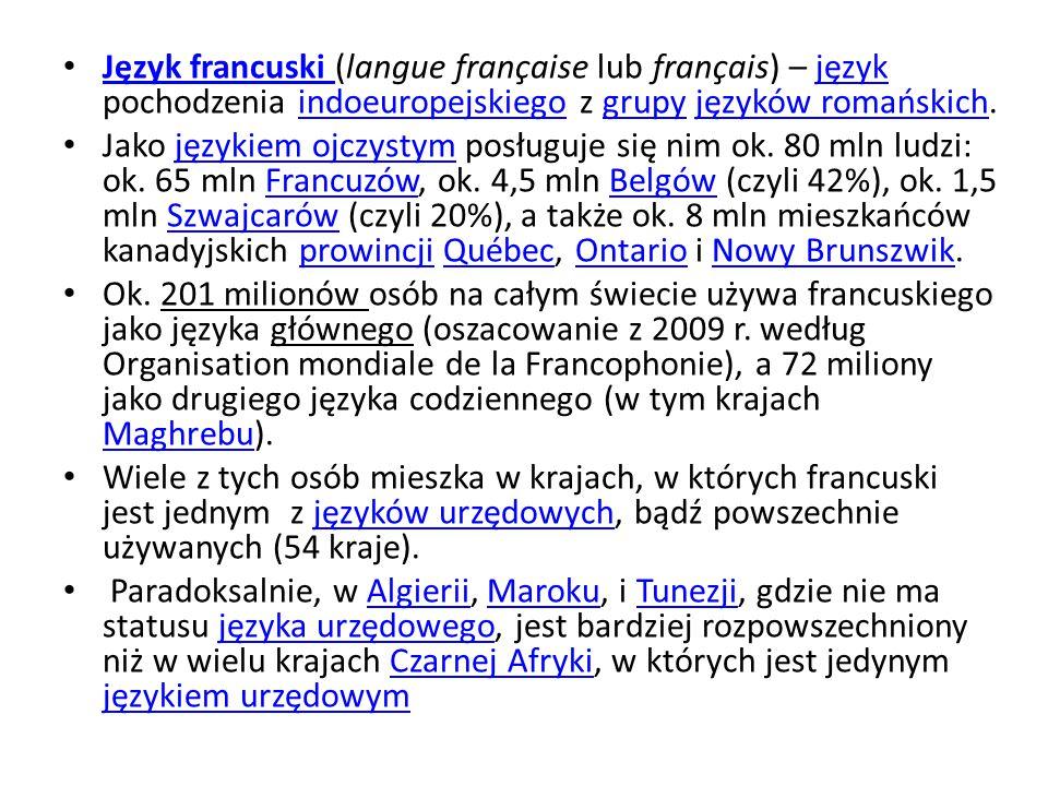 Język francuski (langue française lub français) – język pochodzenia indoeuropejskiego z grupy języków romańskich.