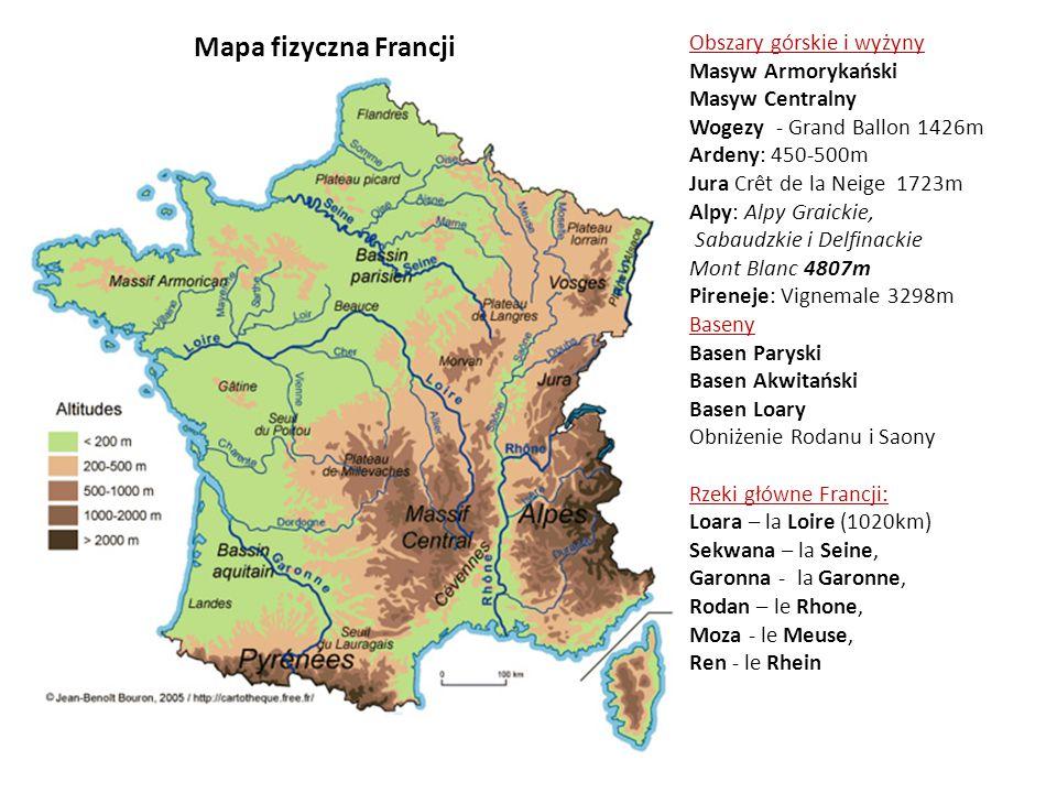 Mapa fizyczna Francji Obszary górskie i wyżyny Masyw Armorykański