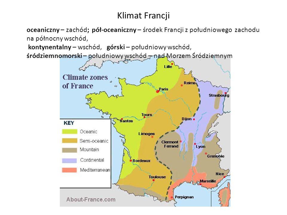 Klimat Francji oceaniczny – zachód; pół-oceaniczny – środek Francji z południowego zachodu na północny wschód,