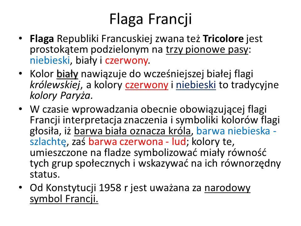 Flaga Francji Flaga Republiki Francuskiej zwana też Tricolore jest prostokątem podzielonym na trzy pionowe pasy: niebieski, biały i czerwony.