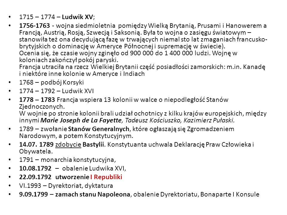 1715 – 1774 – Ludwik XV;