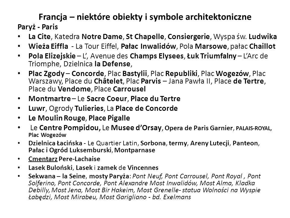 Francja – niektóre obiekty i symbole architektoniczne