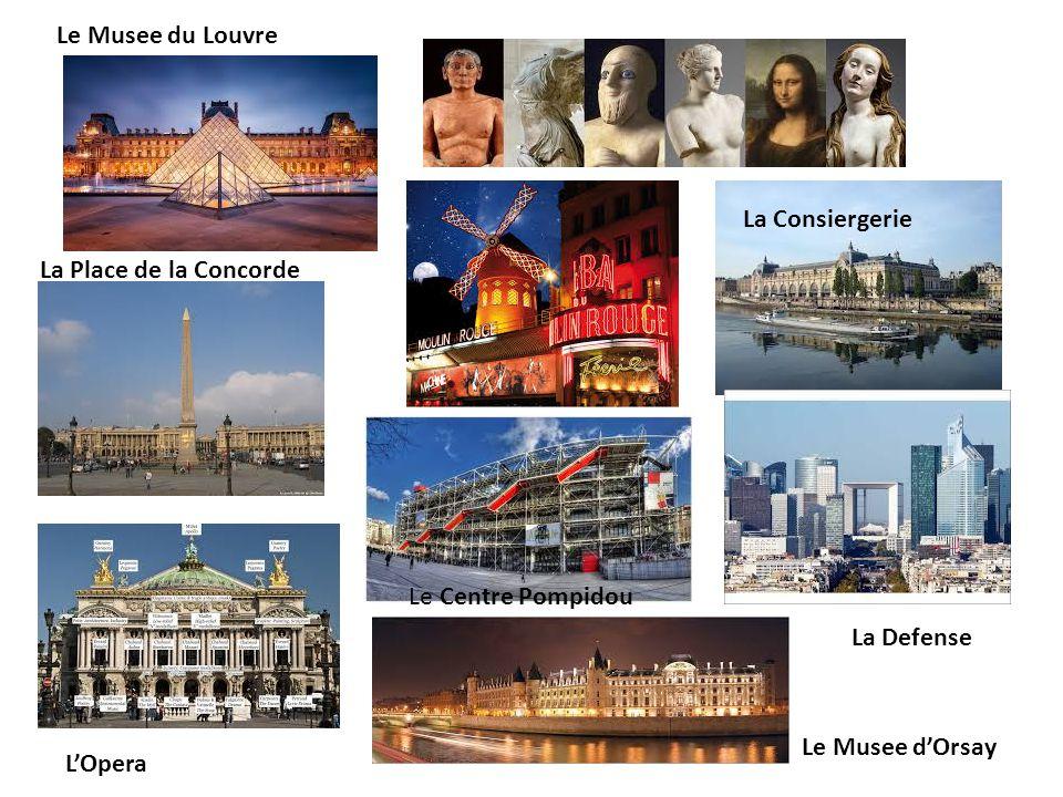 Le Musee du Louvre La Consiergerie. La Place de la Concorde. Le Centre Pompidou. La Defense. Le Musee d'Orsay.