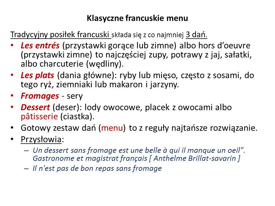 Klasyczne francuskie menu