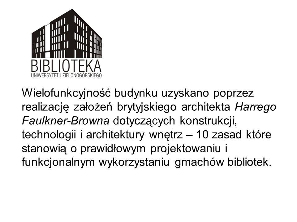 Wielofunkcyjność budynku uzyskano poprzez realizację założeń brytyjskiego architekta Harrego Faulkner-Browna dotyczących konstrukcji, technologii i architektury wnętrz – 10 zasad które stanowią o prawidłowym projektowaniu i funkcjonalnym wykorzystaniu gmachów bibliotek.