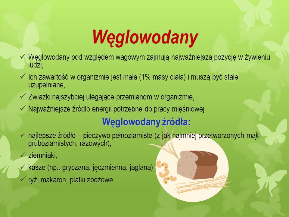 Węglowodany Węglowodany źródła: