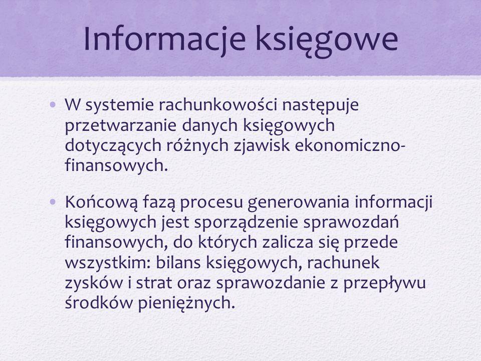 Informacje księgowe W systemie rachunkowości następuje przetwarzanie danych księgowych dotyczących różnych zjawisk ekonomiczno- finansowych.
