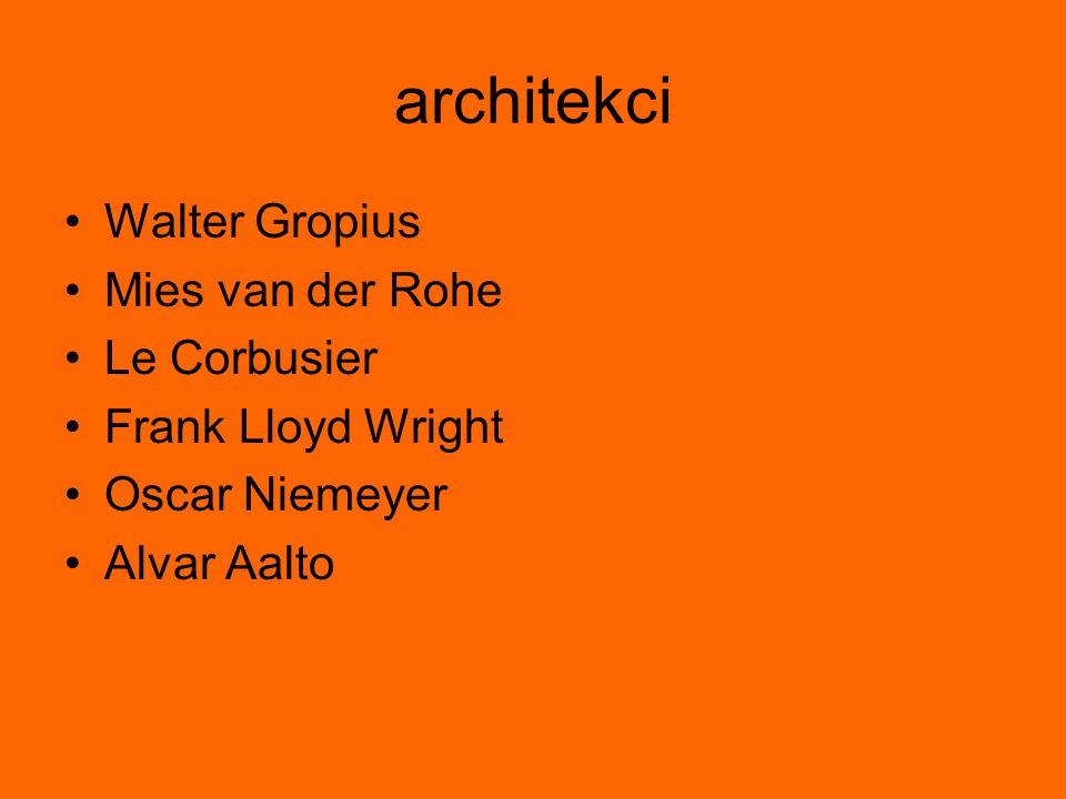 architekci Walter Gropius Mies van der Rohe Le Corbusier