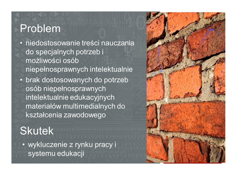 Problem niedostosowanie treści nauczania do specjalnych potrzeb i możliwości osób niepełnosprawnych intelektualnie.
