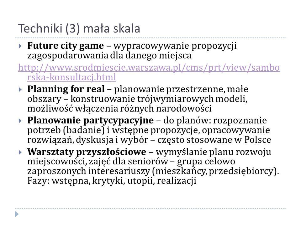 Techniki (3) mała skala Future city game – wypracowywanie propozycji zagospodarowania dla danego miejsca.