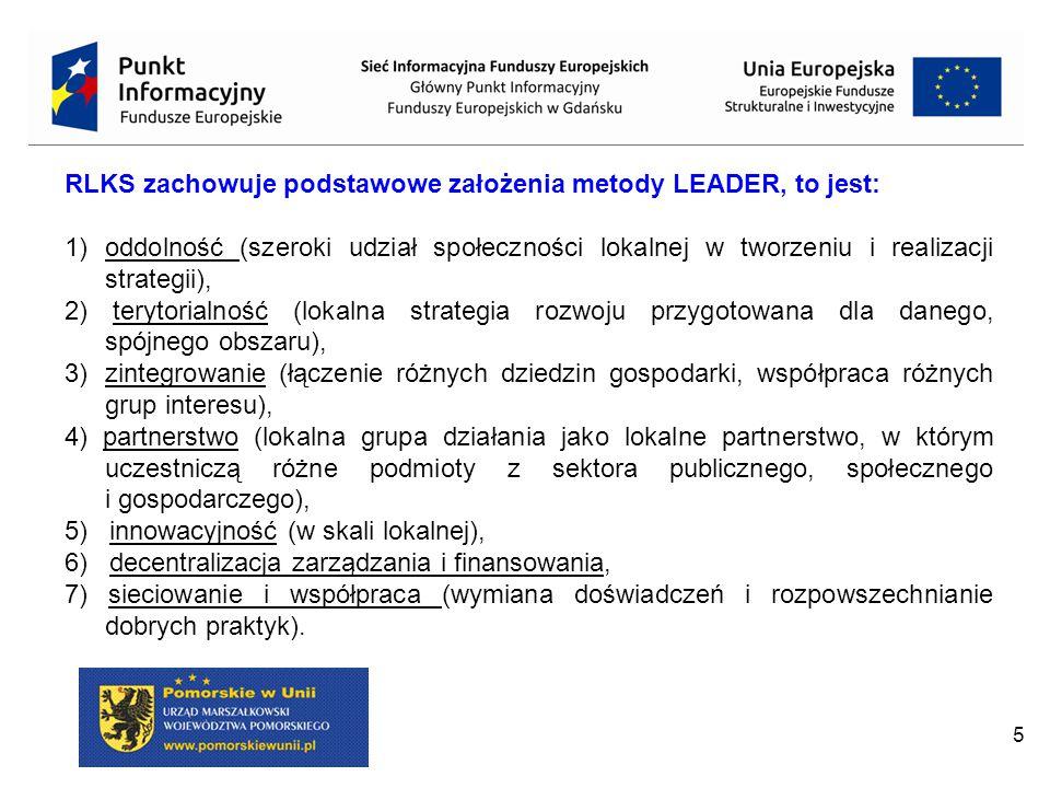 RLKS zachowuje podstawowe założenia metody LEADER, to jest: