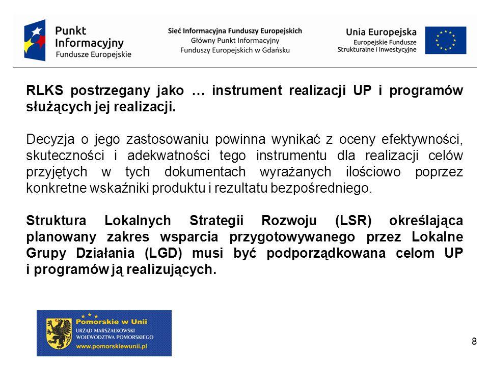 RLKS postrzegany jako … instrument realizacji UP i programów służących jej realizacji.