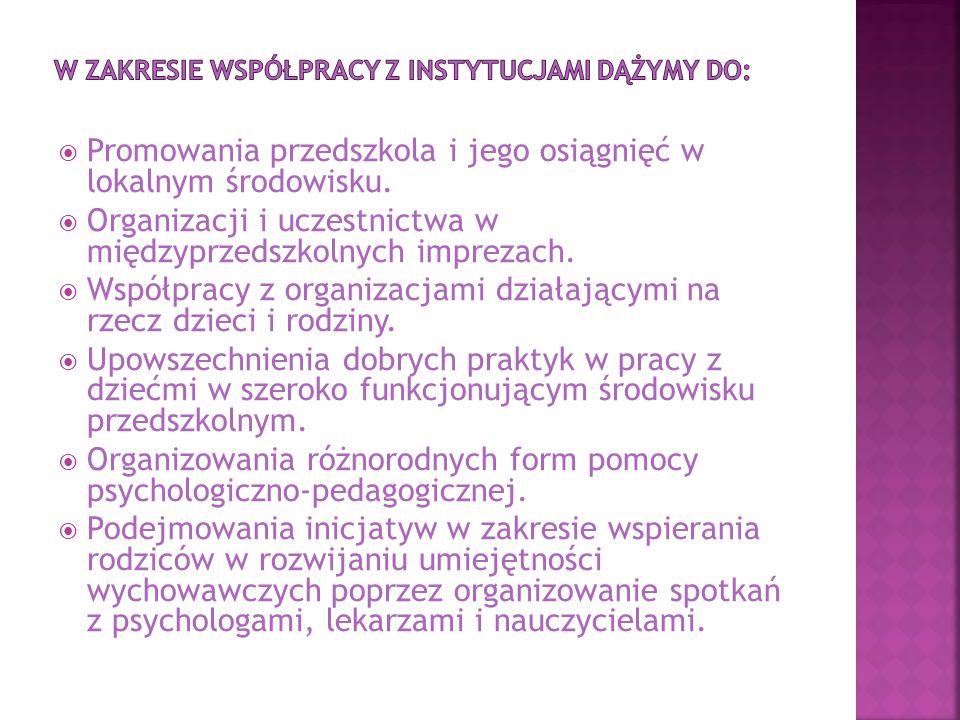 W zakresie współpracy z instytucjami dążymy do: