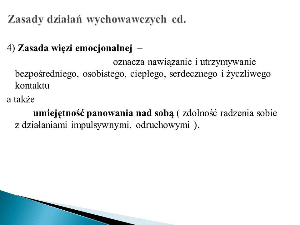 Zasady działań wychowawczych cd.
