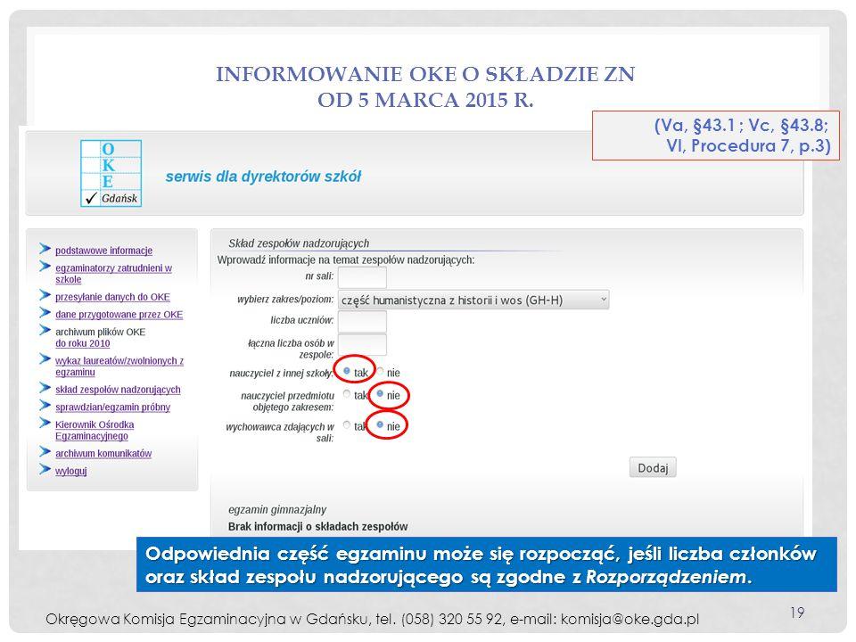 Informowanie OKE o składzie ZN od 5 marca 2015 r.