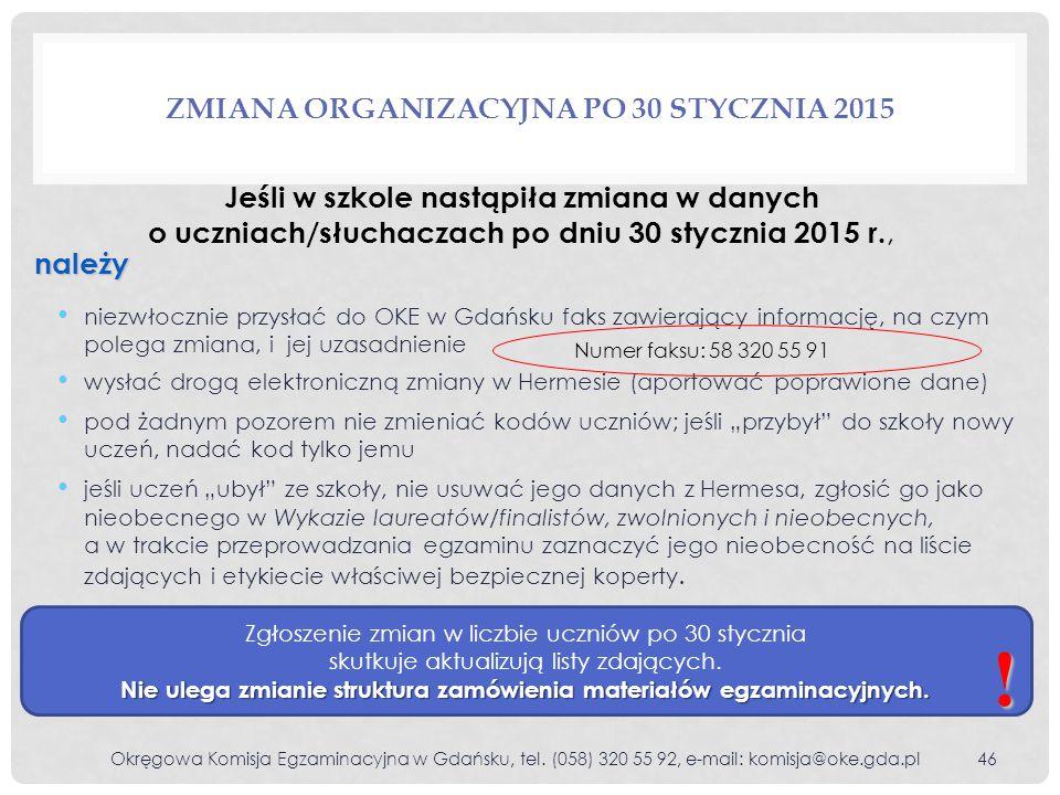 Zmiana organizacyjna po 30 stycznia 2015