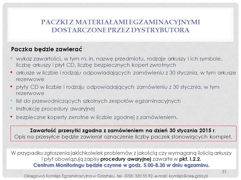 Paczki z materiałami egzaminacyjnymi dostarczone przez dystrybutora