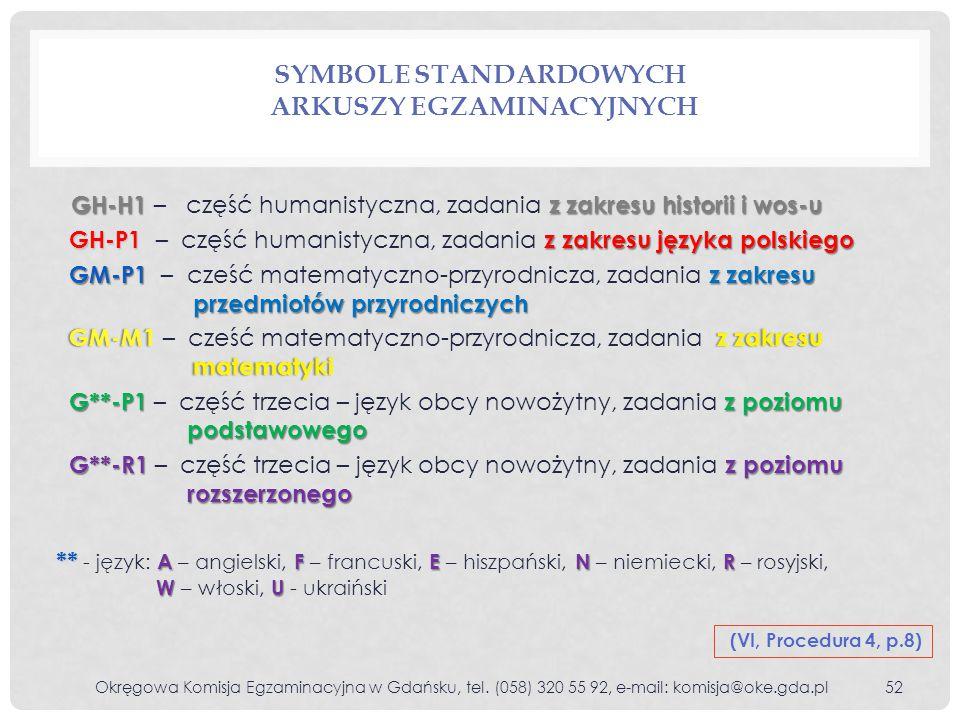 Symbole standardowych arkuszy egzaminacyjnych