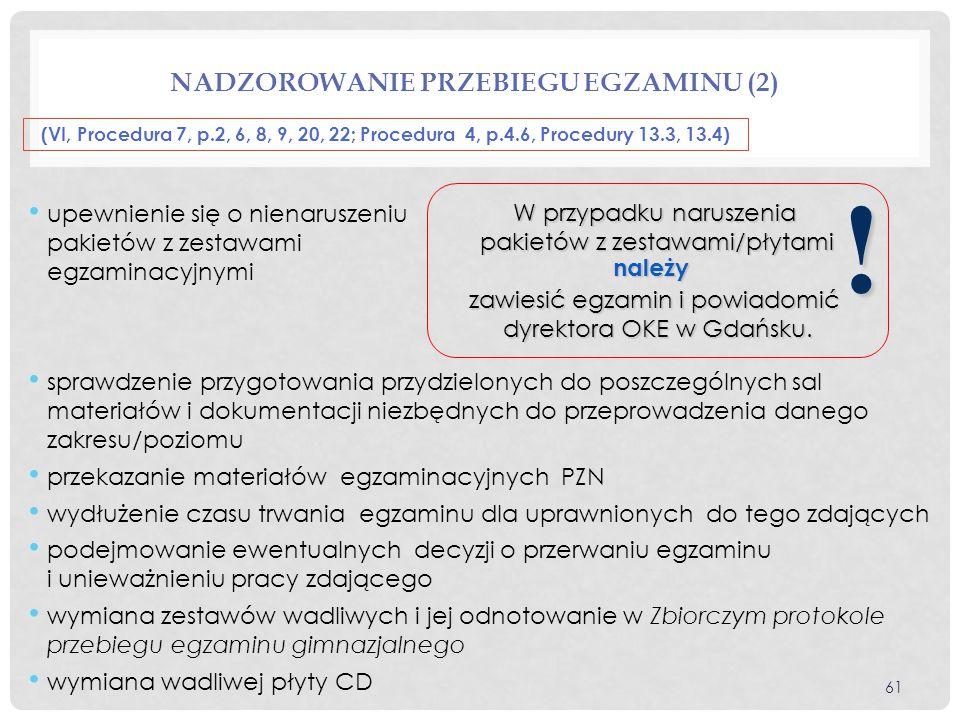 Nadzorowanie przebiegu egzaminu (2)