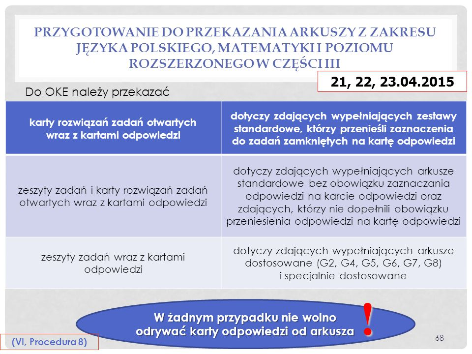 Przygotowanie do przekazania arkuszy z zakresu języka polskiego, matematyki i poziomu rozszerzonego w części III