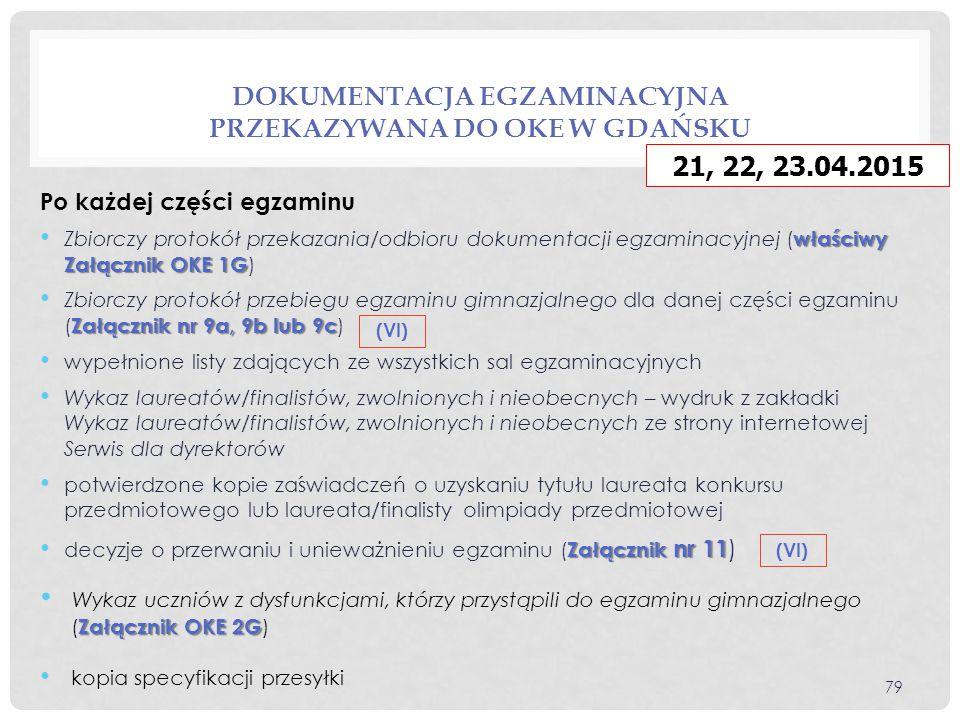 Dokumentacja egzaminacyjna przekazywana do OKE w Gdańsku