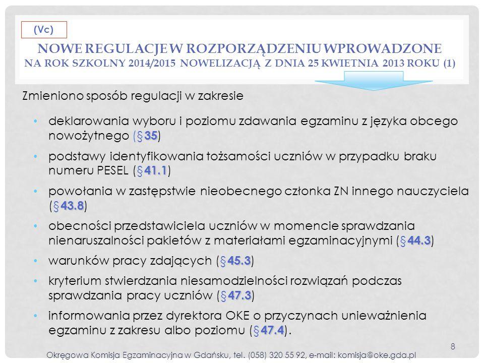 (Vc) Nowe regulacje w rozporządzeniu wprowadzone na rok szkolny 2014/2015 nowelizacją z dnia 25 kwietnia 2013 roku (1)