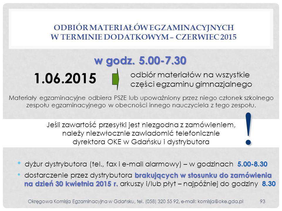 Odbiór materiałów egzaminacyjnych w terminie dodatkowym – czerwiec 2015