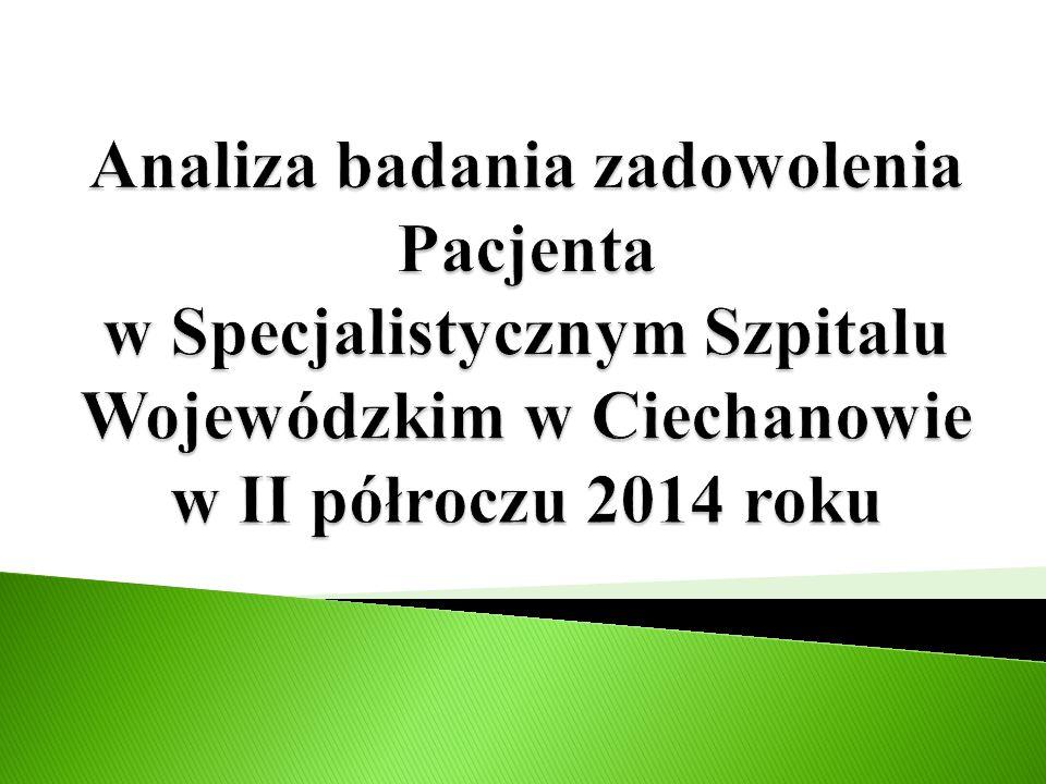 Analiza badania zadowolenia Pacjenta w Specjalistycznym Szpitalu Wojewódzkim w Ciechanowie w II półroczu 2014 roku
