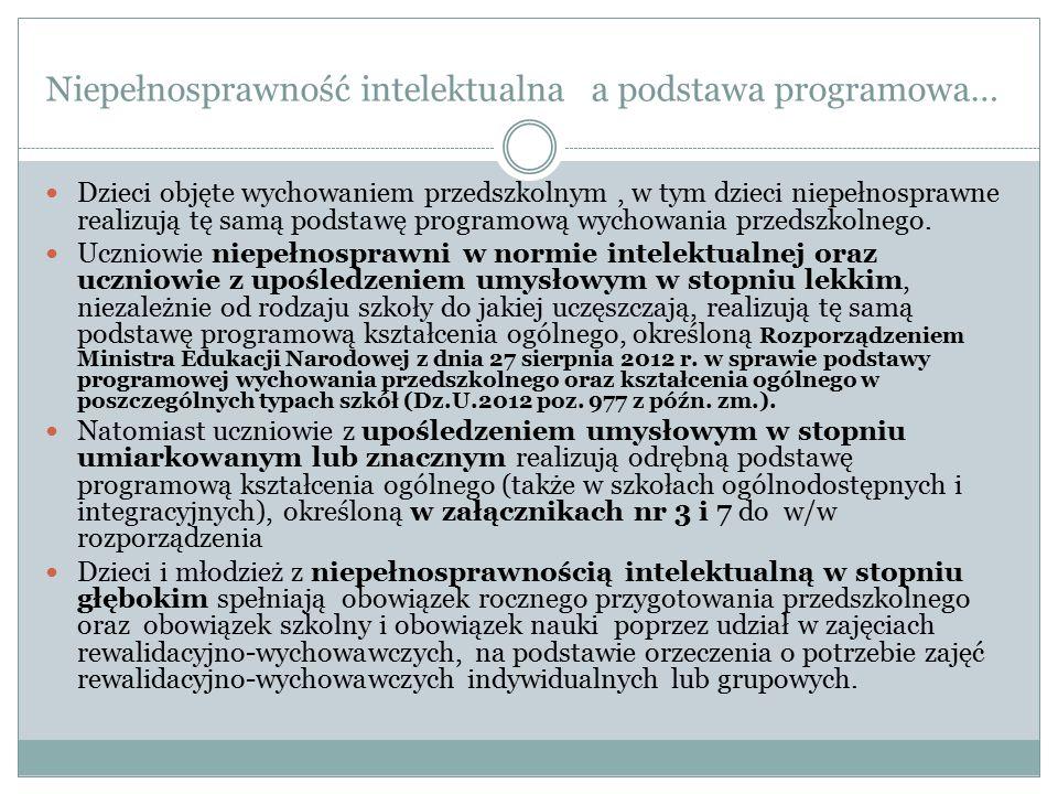 Niepełnosprawność intelektualna a podstawa programowa…